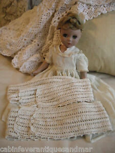 Antique Vintage Crochet For Ribbon Weave French Doll Pillow Lace Trim 2 22 24