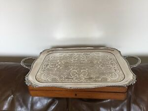 Silver Plated Rectangular 2 Handled Butlers Tray 22 25 X 14 Spt 892