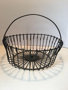 Vintage Antique Rustic Wire Egg Gathering Basket Country Kitchen Farm Free Ship