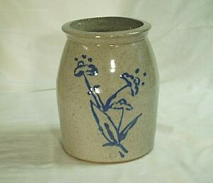 Primitive Stamped Stoneware Speckled Crock Decorative Art Pottery Blue Floral
