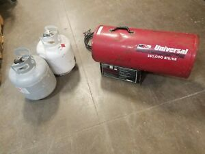 Nr Universal 350 000 Btu Forced Air Construction Propane Heater 2 Tanks