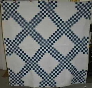 Indigo Blue And White Triple Irish Chain Antique Quilt 18529