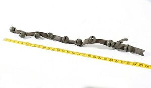 Antique Rustic Sleigh Bells Leather Strap Great Sound