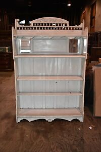 Antique Victorian Furniture Vintage White Painted Bookcase Bookshelf Display