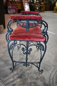 Antique Velvet Upholstered Victorian Wrought Iron Bench Chair Vintage Furniture
