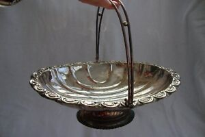 A Vintage English Silver Plated Epns Centre Basket Cake Stand Bowl Swing Handle