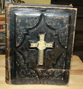 Antique 1880 Era Catholic Family Holy Bible Douay Rheims Original