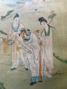 Antique Chinese Watercolor Painting On Silk W Eight Immortal Characters Signed