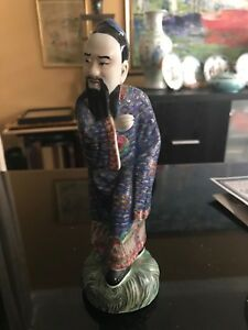 Chinese Republic Period Porcelain Famille Statue Figurine