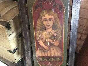 Art Glazier Hand Painted Girl On Swan Antique Sled Folk Art Primitive