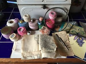 Vtg Antique Coats And Clark S Other Cotton Darning Thread Fabric Yarn Patterns