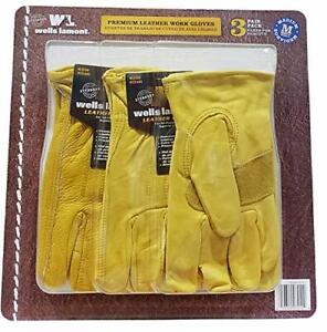 Well Lamont Leather Work Gloves Medium 3 Count