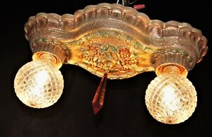 Set Of Vtg Deco Cast Metal Ceiling Light Fixture 2 Sconces Chandelier 1920 S
