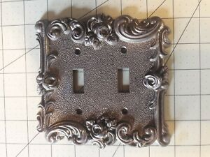 Vintage Metal Double Light Switch Plate American Tack Hdwe Co 60tt