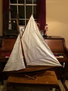 Antique Vintage Model Wooden Pond Yacht Sail Boat Sailboat Ship