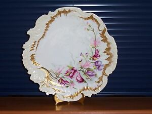 Limoges Martial Redon Floral Gilded Cabinet Plate Charger Price Reduced