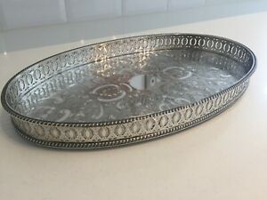 Vintage Sheffield Silver Plate On Copper Pierced Gallery Tray Chased 35cm Ep38