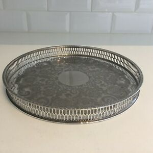 Vintage Sheffield Silver Plated Pierced Gallery Tray Epns Round Viners 26cm Ep39