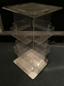 Clear Acrylic Rotating Counter Top Card Coupon Ticket Bucket Display Box Store
