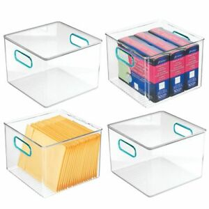 Mdesign Plastic Storage Desk Organizer Bin For Home Office 4 Pack Clear blue