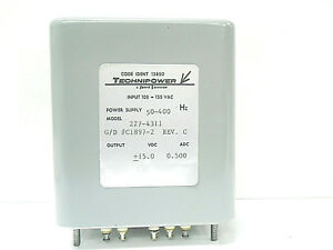 227 4311 Technipower Power Supply 50 400 Hz 15 Vdc 125 Vac New Old Stock
