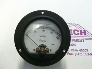 Simpson Electric Round Style Analog Panel Meter Dc Ammeters 0 200 Volts
