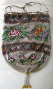 Antique Victorian Crochet Lavender Band Floral French Micro Bead Reticule Purse
