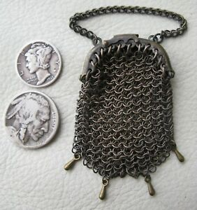 Antique Victorian Brass Mesh 4 Drop Ball Chatelaine Bru French Doll Coin Purse