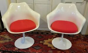 Pair Saarinen Tulip Style Swivel Arm Chairs By Rudi