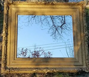 Antique Victorian Baroque 48 Gilt Wood Gesso Mirror