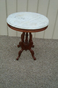 59894 Antique Victorian Marble Top Lamp Table Stand