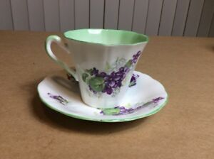 Vintage Adderley Numbered Fine Bone China Teacup Saucer Lavender Green England