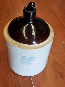 Vintage Western Stoneware Brown White Whiskey Jug Maple Leaf Circa 1940 S