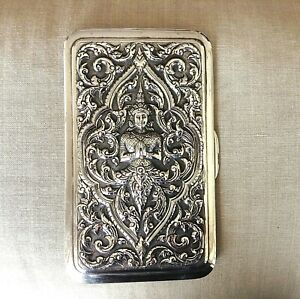 Sterling Silver Vintage Large Cigarette Card Case High Relief Asian Goddess 221g