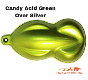Candy Acid Green Over Silver Basecoat Quart Vehicle Motorcycle Auto Paint Kit