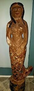 Estate Find Vintage Wooden Hand Carved Mermaid Statue 39 Tall