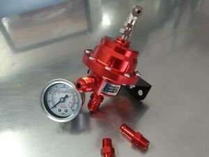 Universal Epman Type L Red Adjustable Fuel Pressure Regulator With Gauge