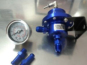 Universal Epman Type L Blue Adjustable Fuel Pressure Regulator With Gauge