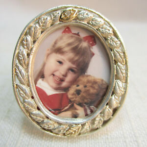 Vintage Estate 925 Sterling Silver Miniature Picture Frame Or Pendant Or Pin