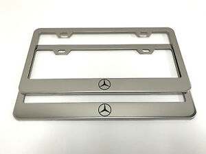 2 Stainless Steel Chrome Polished Metal License Plate Frame Mercedes Logo