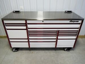 Snap On White Red Trim 84 Epiq Tool Box Toolbox Stainless Steel Power Top