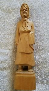 Nice Vintage Carved Wooden Agnes Dube Old Woman Figurine Folk Art Rare Unpainted