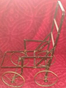Vintage Victorian Metal Baby Doll Baby Carriage Stroller Buggy W Wood Slats