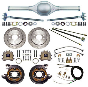 Currie 9 Ford 64 Street Rod Rear End Drilled Disc Brakes lines e Cables axle