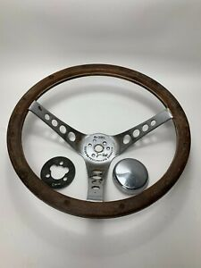 Vintage The 500 Steering Wheel Wood Wooden 13 5 Dia 32 Ford Deluxe Rat Hot Rod