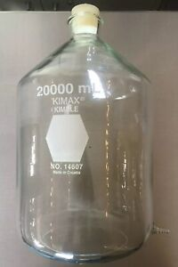 20 000 Ml Kimble Kimax Glass Bottle W Spout 14607 20000 And Silicone Stopper