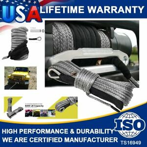 1 4 X 50 Synthetic Winch Rope Line Grey Recovery Cable 10000lbs Atv 4wd W Guard
