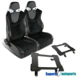 79 98 Mustang Jdm Suede Checked Red Stitching Racing Seats laser Welded Brackets