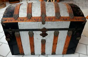 Antique 1880 S Round Top Steamer Trunk Very Nice Condition Complete