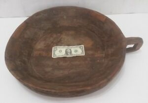 Extra Large Primitive Rough Carved Wooden Bowl With Handle Dough Proof Kitchen